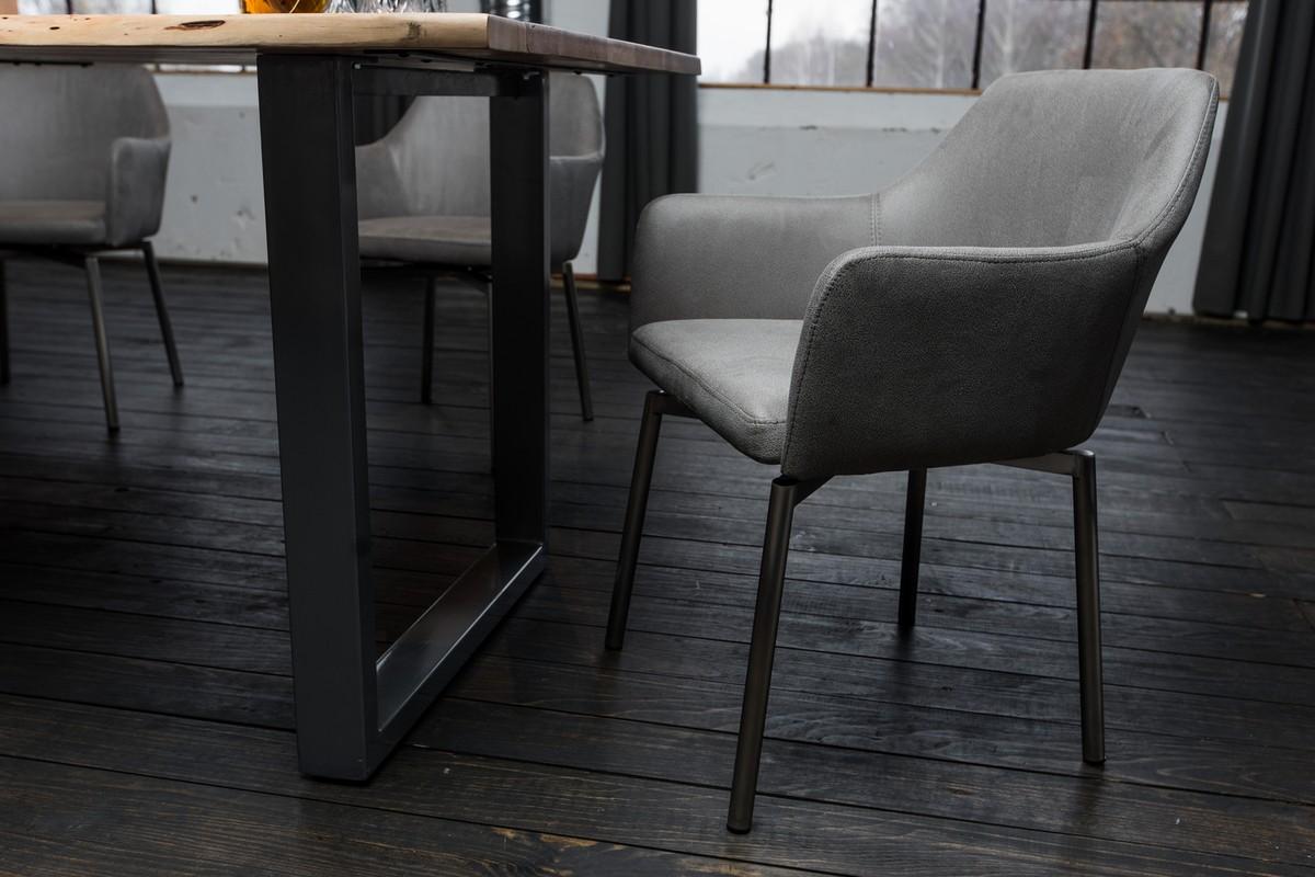 Stühle und Bänke - 6er Set Stuhl Loui Sessel Microfaser Esszimmerstuhl hellgrau  - Onlineshop Moebel–style.de
