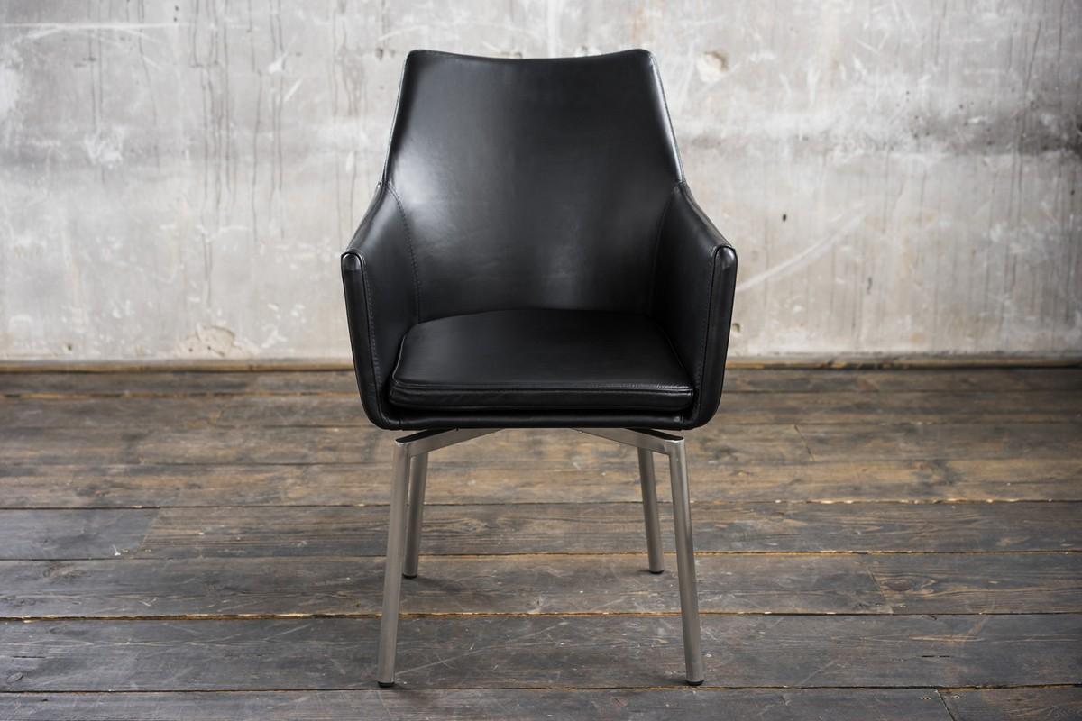 Stühle und Bänke - Stuhl Cali Sessel Leder Esszimmerstuhl schwarz Füße Edelstahl  - Onlineshop Moebel–style.de