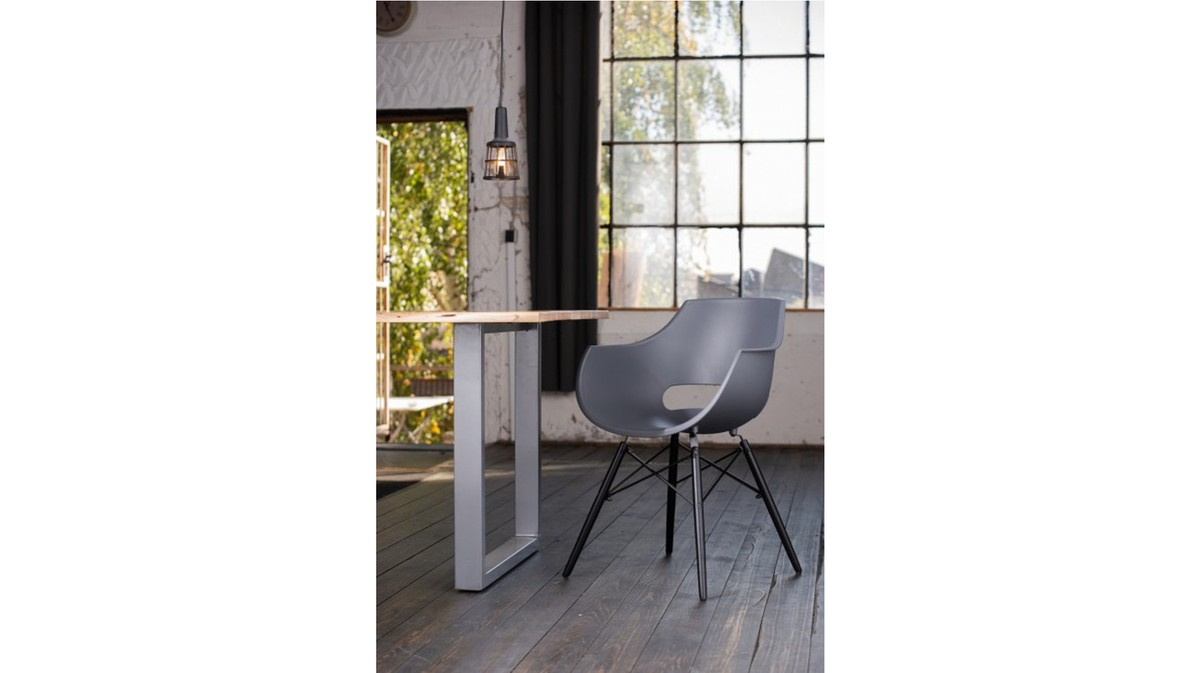 Essgruppen - KAWOLA Essgruppe 5 Teilig mit Esstisch Baumkante Fuß silber 160x85cm und 4x Stuhl ZAJA Kunststoff anthrazit  - Onlineshop Moebel–style.de