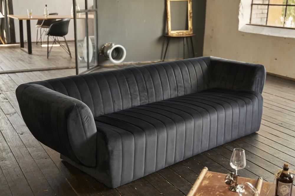 KAWOLA Sofa NORLO 3-Sitzer Stoff velvet schwarz