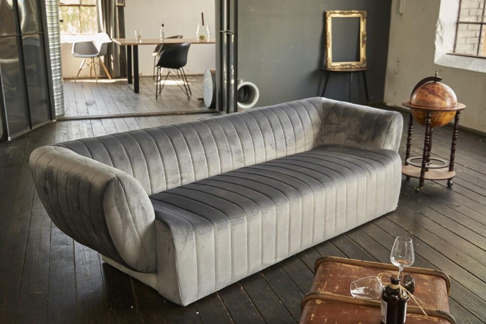 KAWOLA Sofa NORLO 3-Sitzer velvet silbergrau