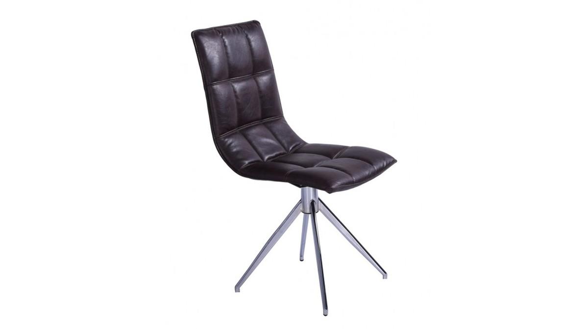 Stühle und Bänke - KAWOLA Stuhl Vendra Esszimmerstuhl Drehstuhl Kunstleder braun Fuß Chrome 46,50x57x91cm (B T H)  - Onlineshop Moebel–style.de