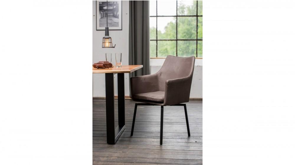 KAWOLA Essgruppe 5-teilig mit Esstisch Baumkante nussbaumfarben Fuß schwarz 160x85 und 4x Stuhl Cali Stoff grau