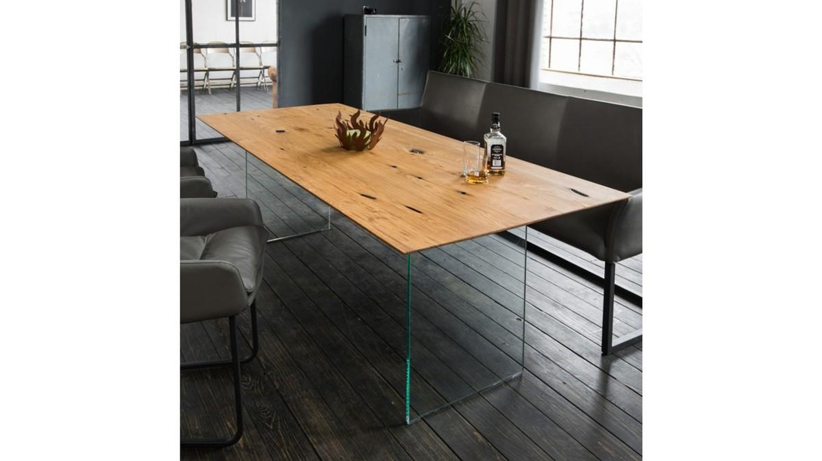Tische - KAWOLA Esstisch MELA Tischplatte Alt Eiche geölt Fuß Glaswange 225x100 (L B)  - Onlineshop Moebel–style.de