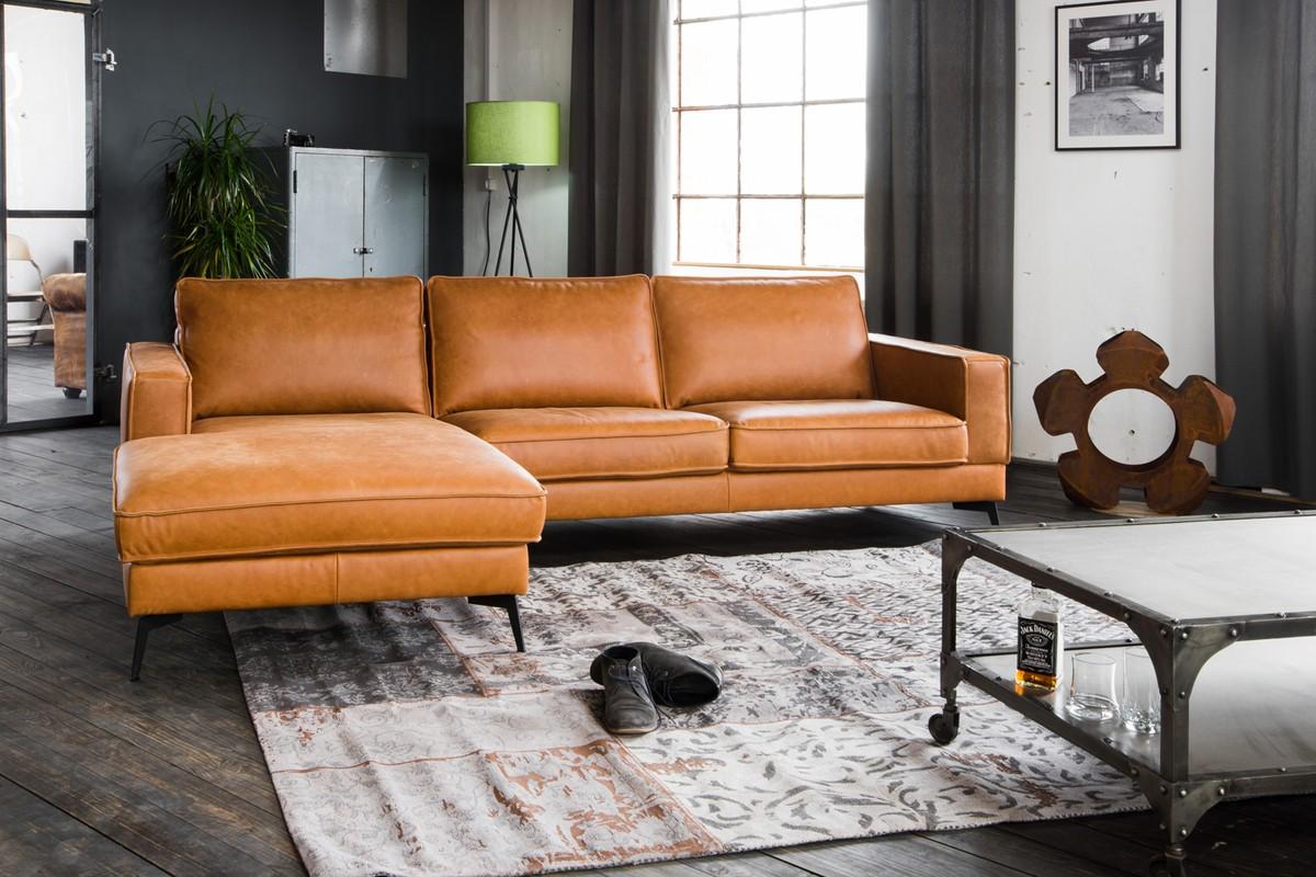 Sofas - KAWOLA Sofa BLOOM Recamiere links Leder Retro cognac  - Onlineshop Moebel–style.de