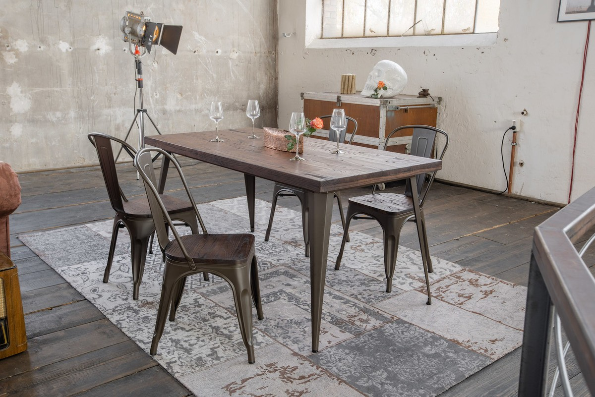 Essgruppen - KAWOLA Essgruppe Tisch KELIO 160x80cm mit 4x Stuhl GERO Holz Metall  - Onlineshop Moebel–style.de