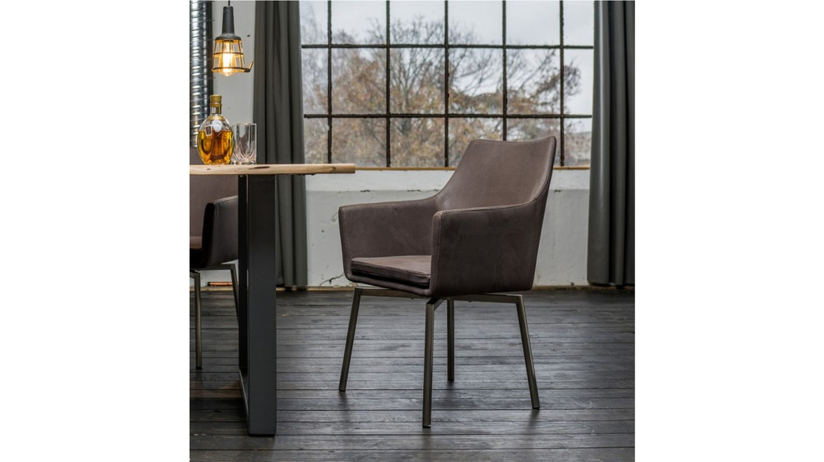Stühle und Bänke - Stuhl Cali Sessel Microfaser Esszimmerstuhl dunkelgrau Füße Edelstahl  - Onlineshop Moebel–style.de