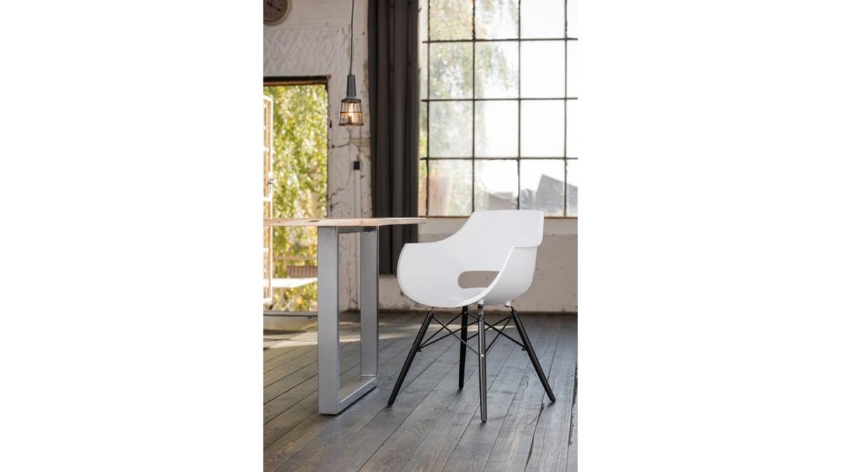 Essgruppen - KAWOLA Essgruppe 9 Teilig mit Esstisch Baumkante Fuß silber 200x100cm und 8x Stuhl ZAJA Kunststoff weiß  - Onlineshop Moebel–style.de
