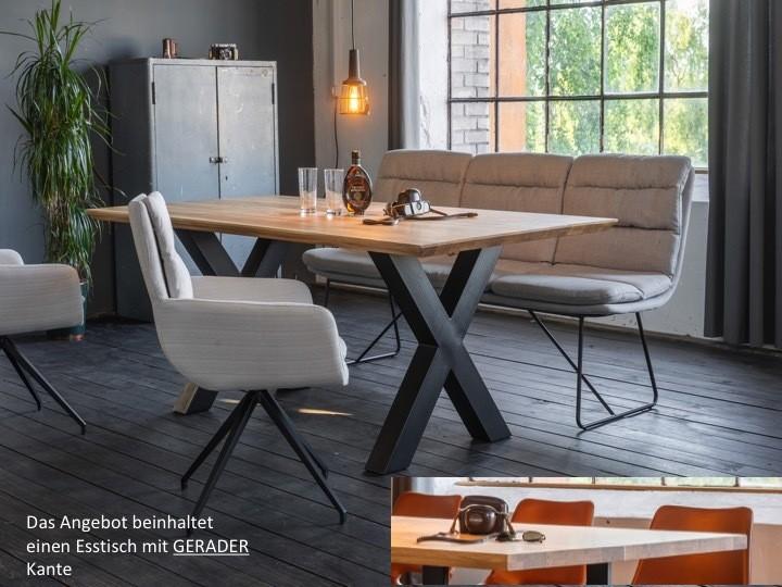 Tische - KAWOLA Esstisch Leonard Tisch Platte Eiche gerade Kante Metall X Fuß 200x100cm  - Onlineshop Moebel–style.de