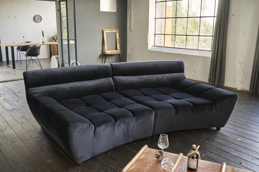 KAWOLA Big Sofa NERLA Stoff Velvet Schwarz