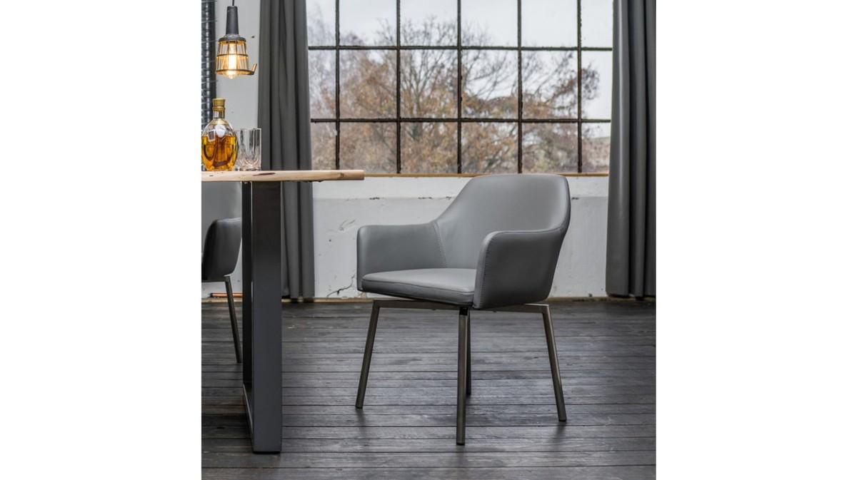 Stühle und Bänke - Stuhl Loui Sessel Kunstleder Esszimmerstuhl grau  - Onlineshop Moebel–style.de