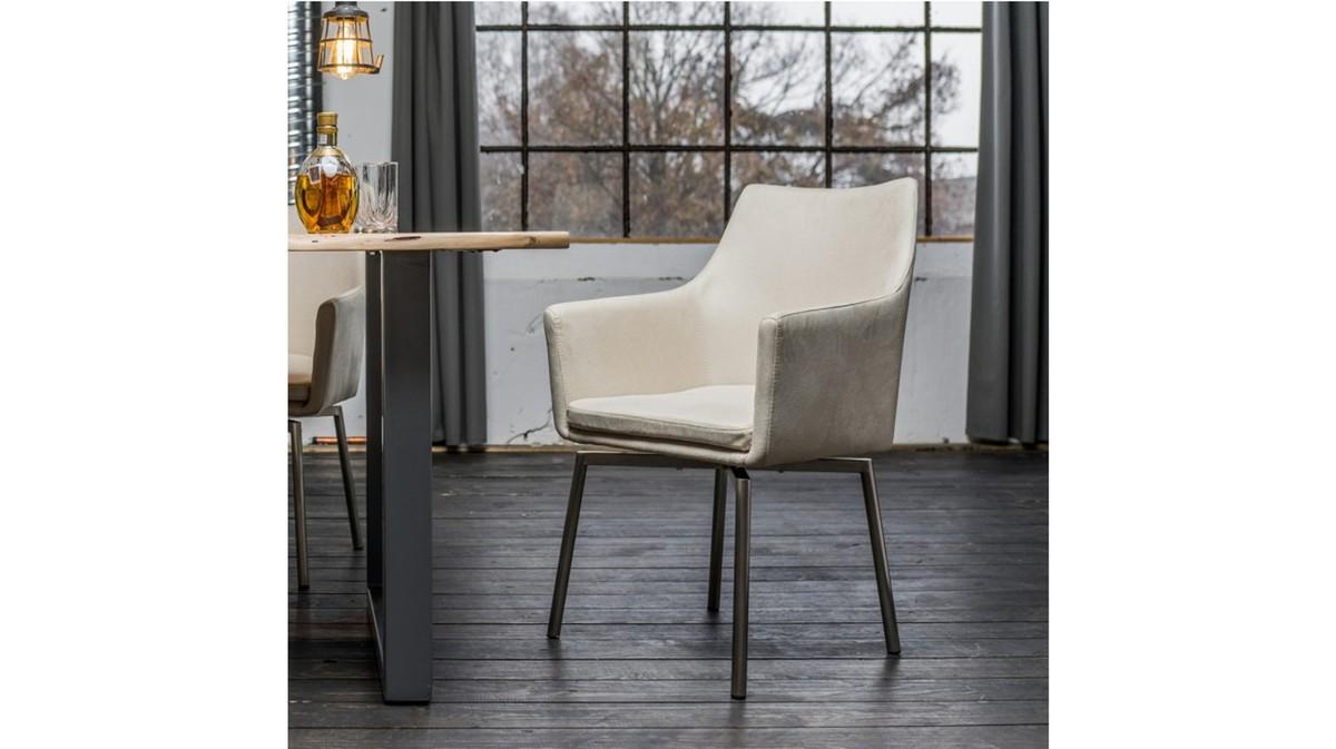 Stühle und Bänke - Stuhl Cali Sessel Microfaser Esszimmerstuhl creme Füße Edelstahl  - Onlineshop Moebel–style.de