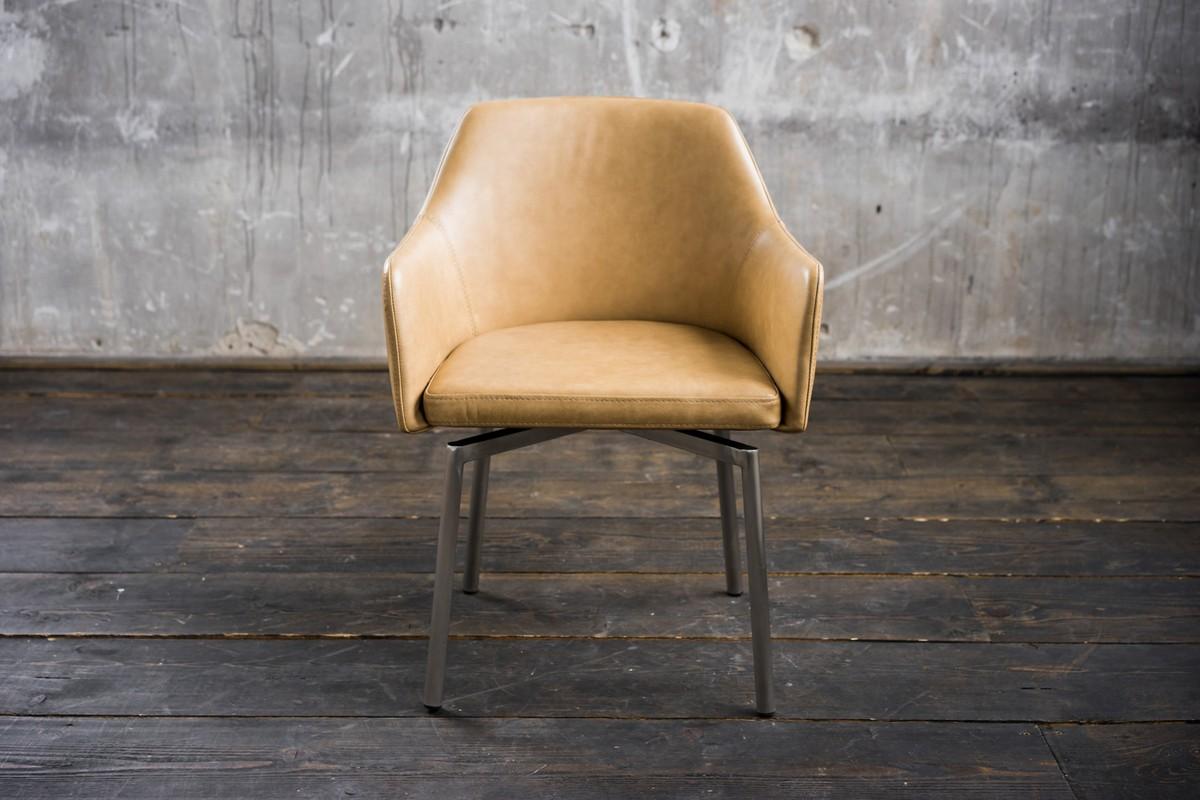 Stühle und Bänke - Stuhl Loui Sessel Leder beige Esszimmerstuhl  - Onlineshop Moebel–style.de