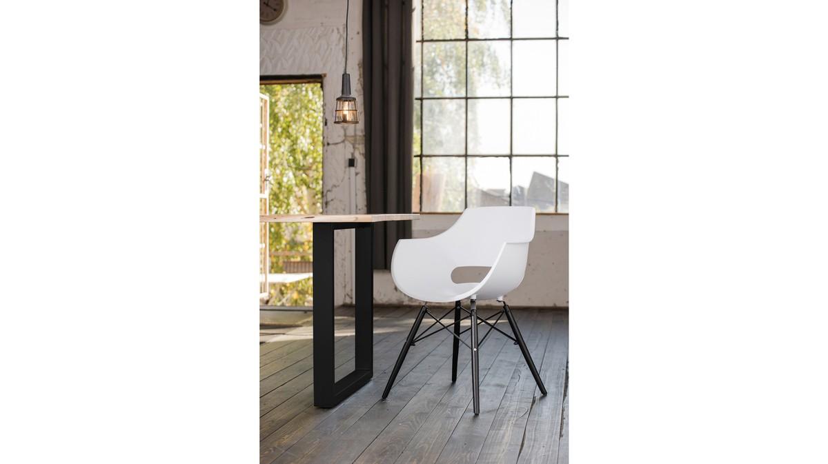 Essgruppen - KAWOLA Essgruppe 9 Teilig mit Esstisch Baumkante Fuß schwarz 200x100cm und 8x Stuhl ZAJA Kunststoff weiß  - Onlineshop Moebel–style.de