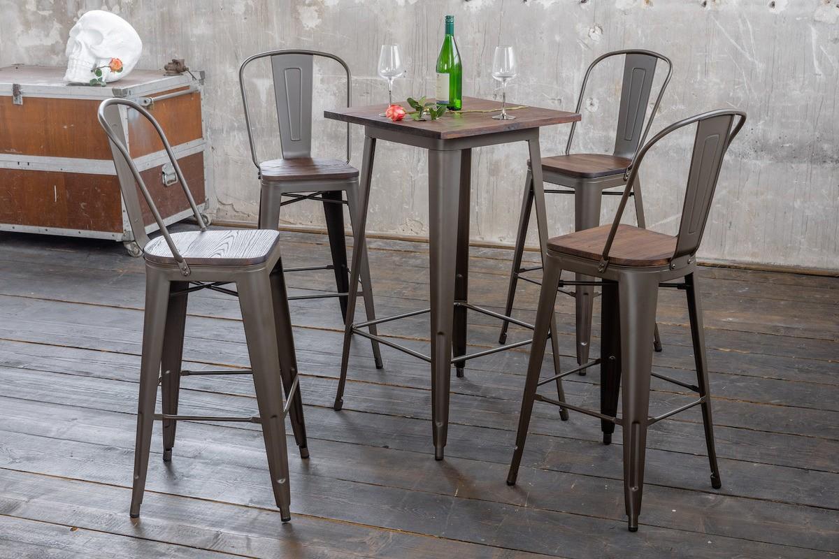 Essgruppen - KAWOLA Sitzgruppe Bartisch VILDA 4x Stuhl ELI  - Onlineshop Moebel–style.de