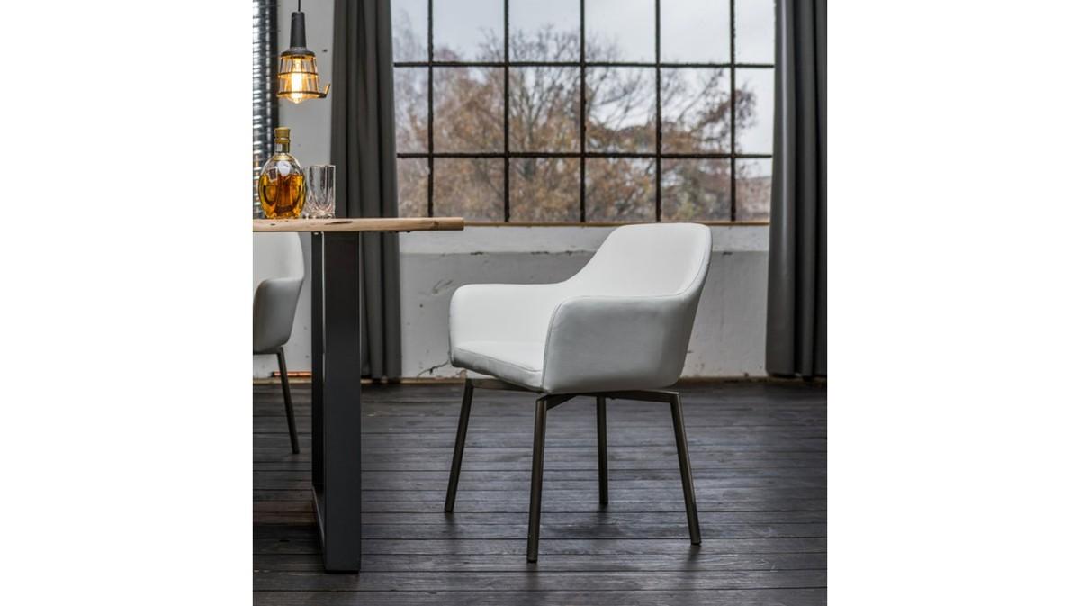 Stühle und Bänke - Stuhl Loui Sessel Kunstleder Esszimmerstuhl weiß  - Onlineshop Moebel–style.de