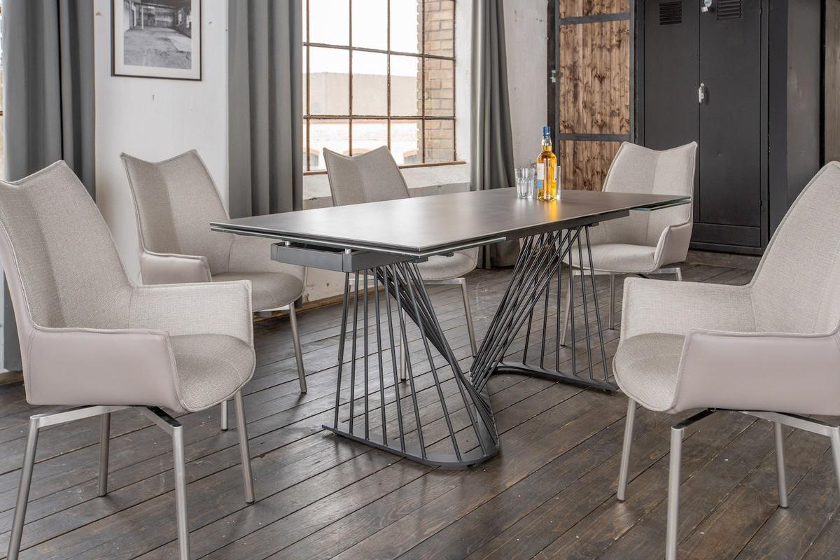 Essgruppen - KAWOLA Essgruppe 5 Teilig Tisch ELOISE dunkelgrau mit 4x Stuhl STINE Kunstleder Stoff grau  - Onlineshop Moebel–style.de