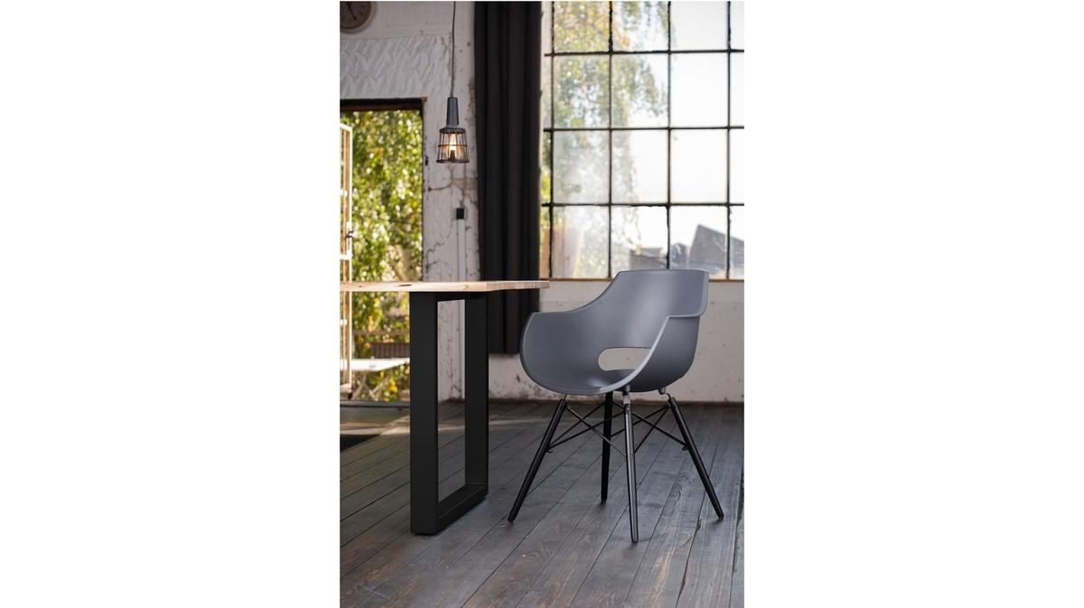 Essgruppen - KAWOLA Essgruppe 9 Teilig mit Esstisch Baumkante nussbaumfarben Fuß schwarz 200x100cm und 8x Stuhl ZAJA Kunststoff anthrazit  - Onlineshop Moebel–style.de