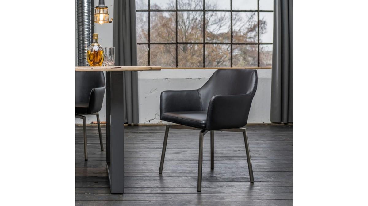 Stühle und Bänke - Stuhl Loui Sessel Kunstleder Esszimmerstuhl schwarz  - Onlineshop Moebel–style.de