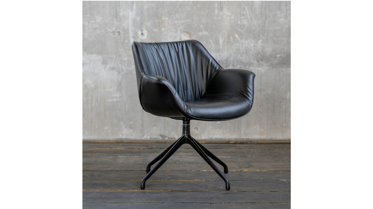Stühle und Bänke - KAWOLA Stuhl MINO Esszimmerstuhl Drehstuhl Besprechungstuhl schwarz  - Onlineshop Moebel–style.de