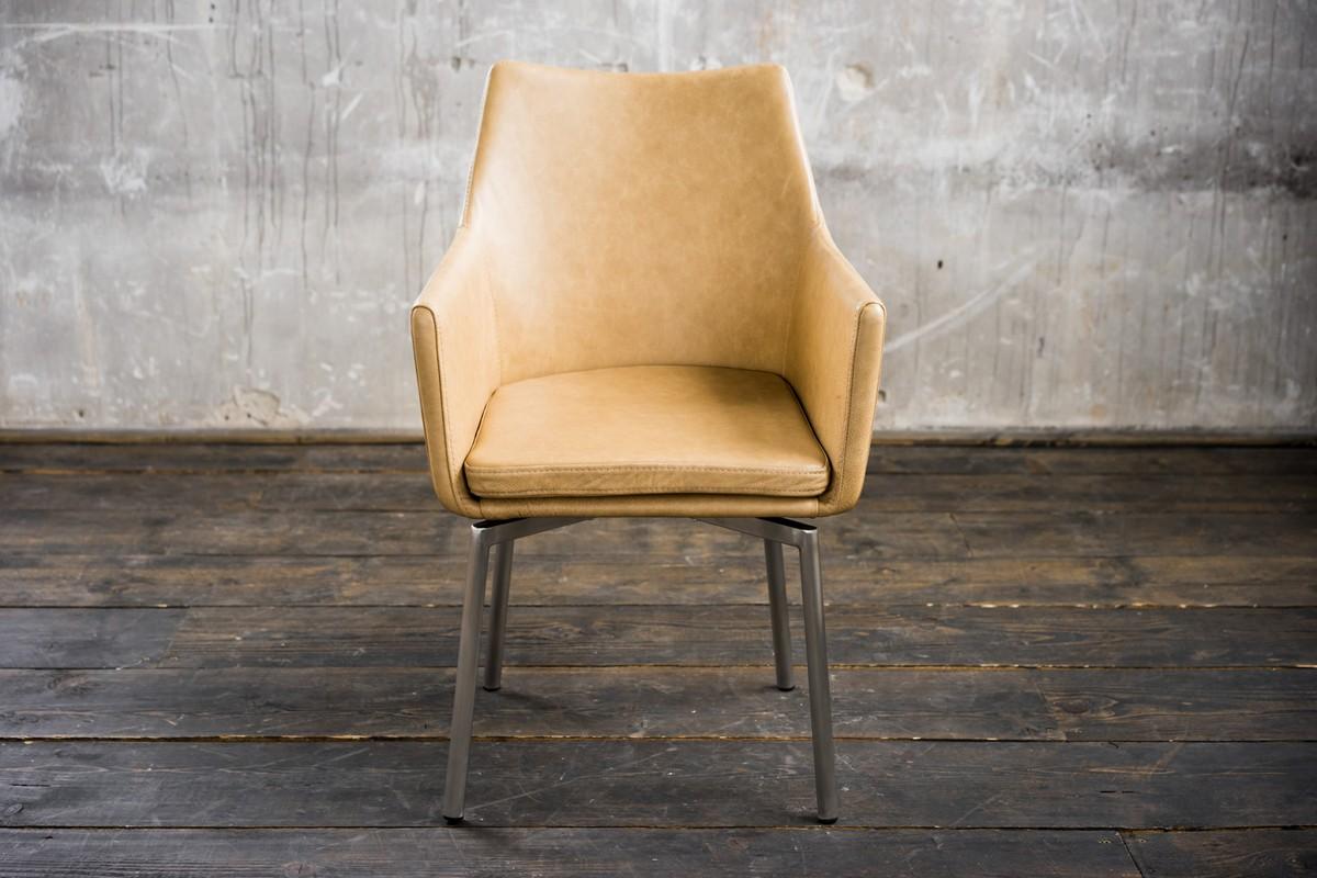 Stühle und Bänke - Stuhl Cali Sessel Leder Esszimmerstuhl beige Füße Edelstahl  - Onlineshop Moebel–style.de