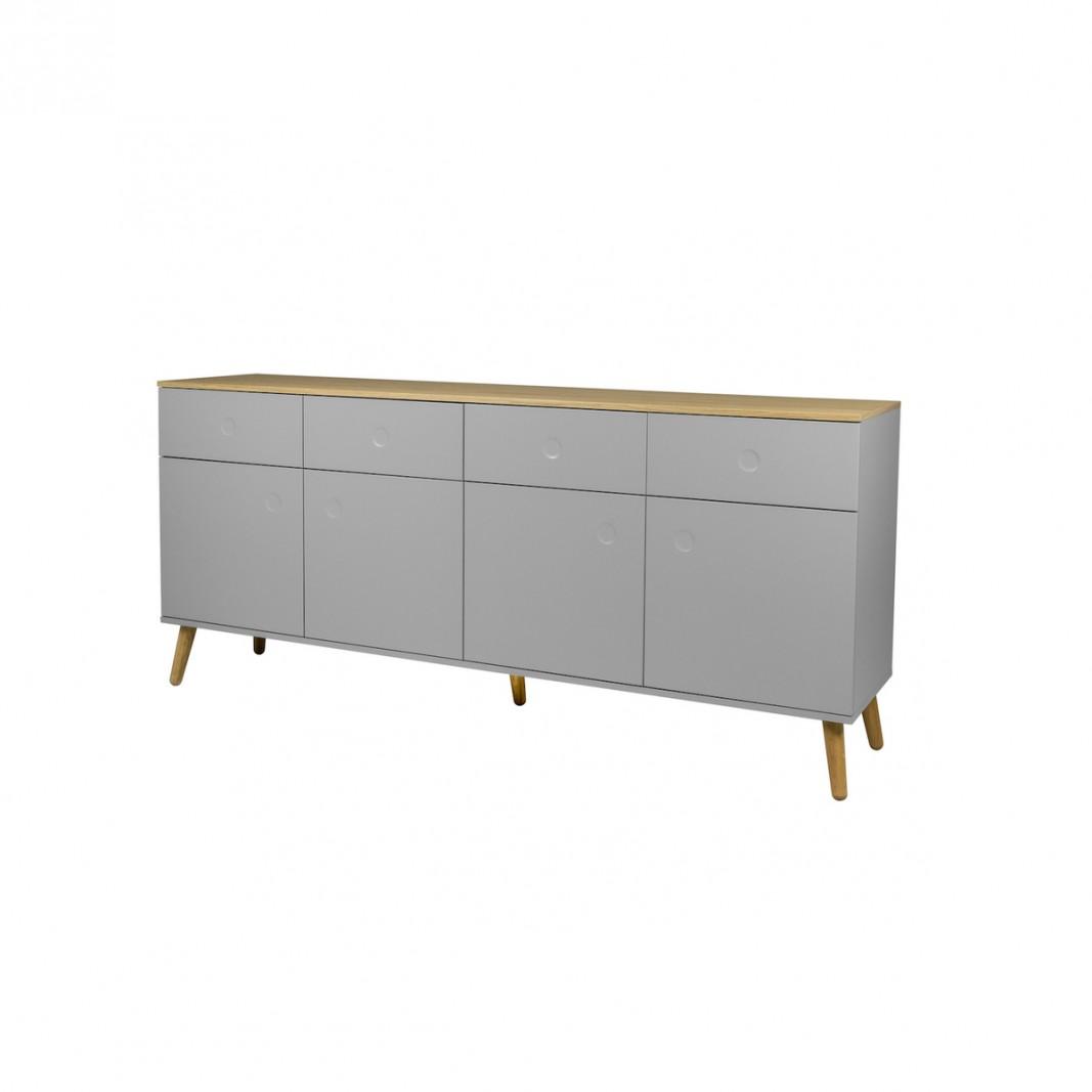 Sideboards und Kommoden - Tenzo Sideboard DOT mit vier Türen grau Eiche  - Onlineshop Moebel–style.de
